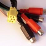 Mini ISO kištukas 6pin geltonas – 4xRCA lizdai