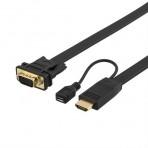 Kabelis DELTACO HDMI-VGA, juodas, 2.0m / HDMI-VGA12